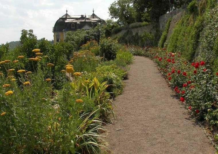 flores sendero casa diseño cascada plantas