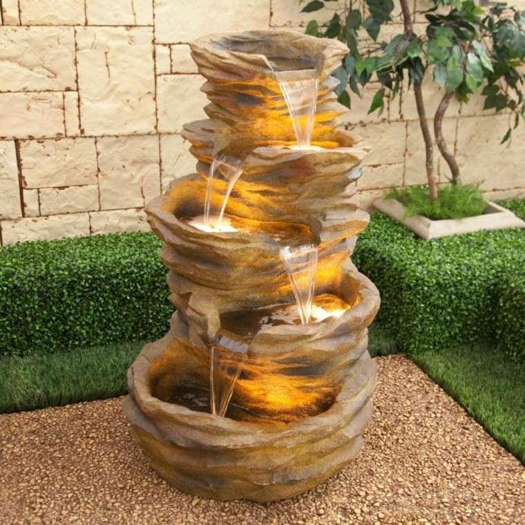 fuente lampara cascada jardin agua