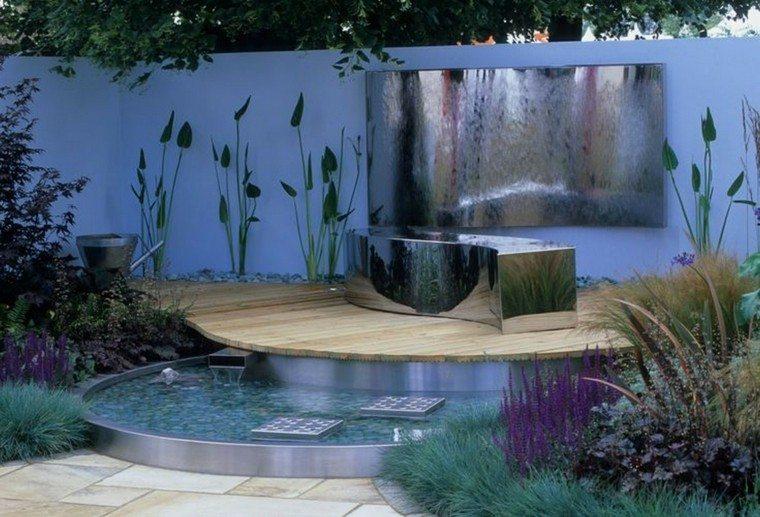 fuente agua moderna jardin pequeño