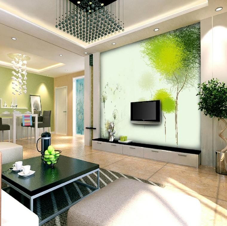 garabatos pinceladas diseño salon verde
