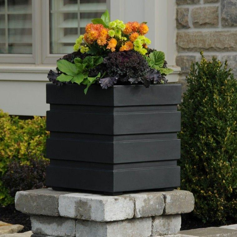 geometrico diseño flores negro piedras