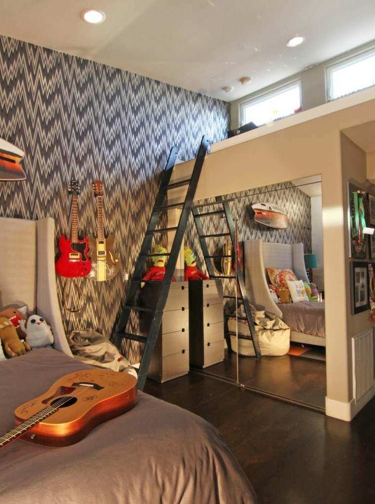 guitarra pared decoracion led habitacion
