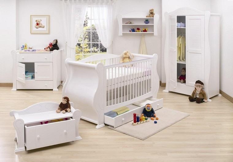 habitacion bebe juguetes monos blanco
