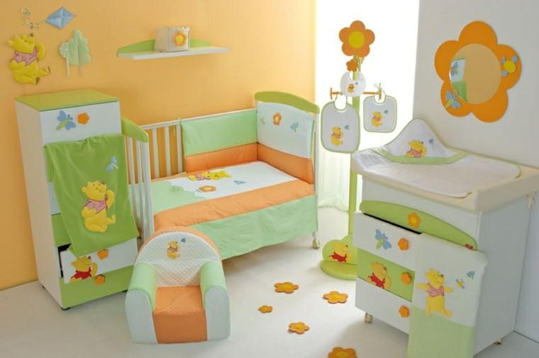 habitacion bebe oso puh naranja
