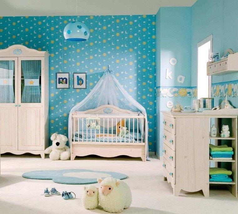 habitacion bebe ovejas cortinas azules