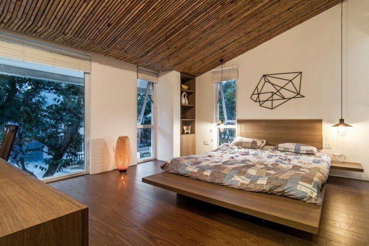 habitacion cama ventanas accesorios lampara