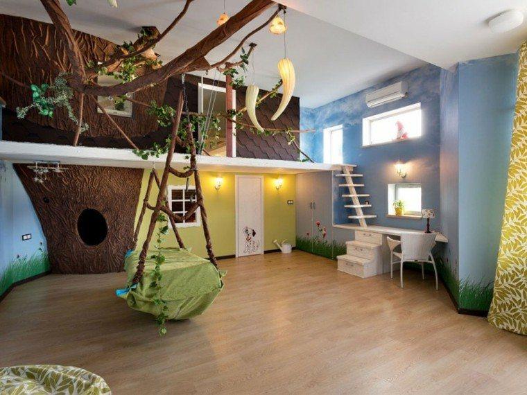 habitacion nino tobogan amplio madera ideas