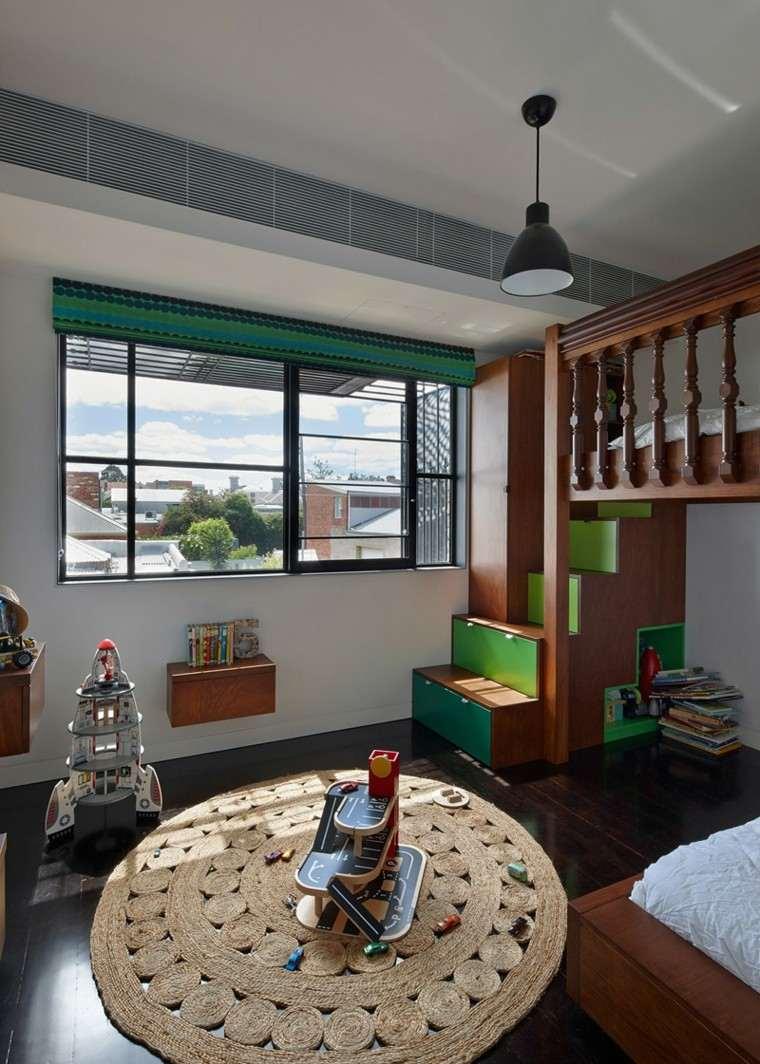 habitacion ninos alfombra armario escalera verde ideas