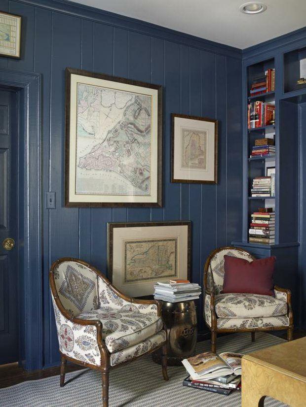 habitacion pared laminada color azul