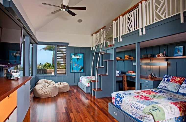 habitaciones chicos escaleras madera compartida