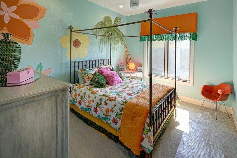 habitaciones chicos flores cama tropical