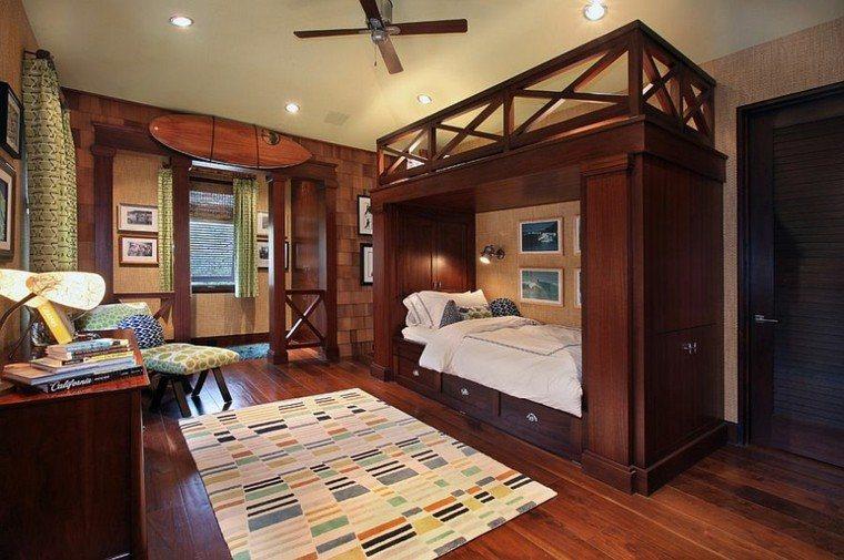 habitaciones chicos madera ventilador led