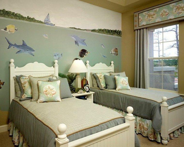 habitaciones chicos peces pared cojines