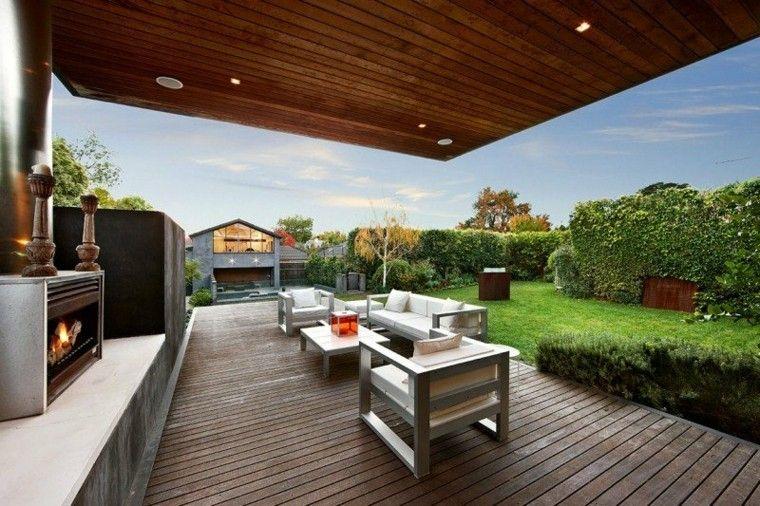 hoguera patio fuego diseño techada