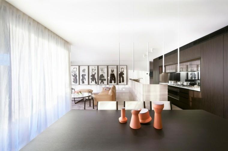 ideas cocina cortinas luces separacion