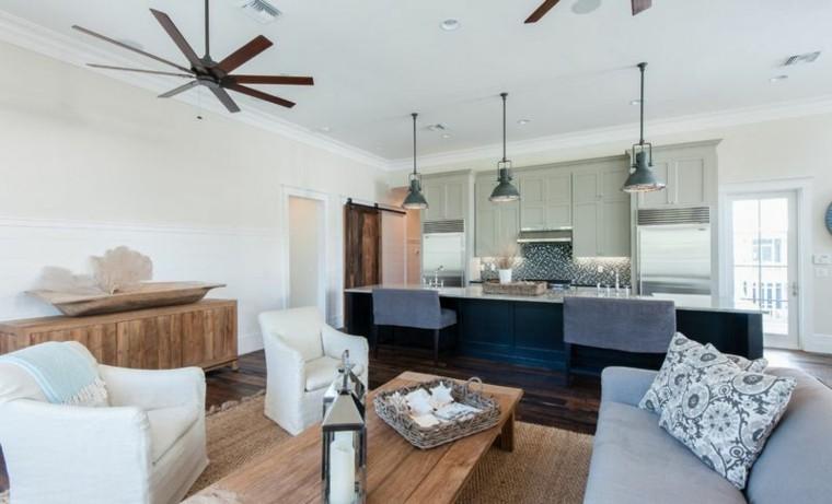 ideas cocina industrial ventilador madera