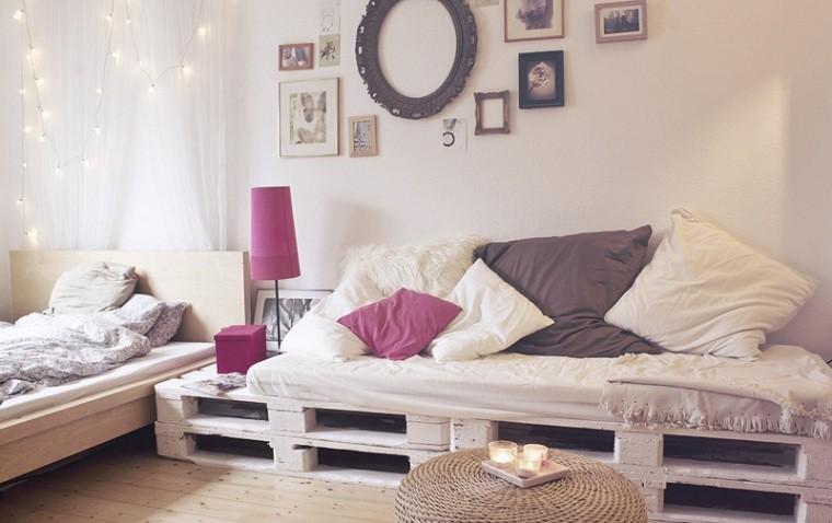 ideas con palets jardin sofa salon cojines cuadros