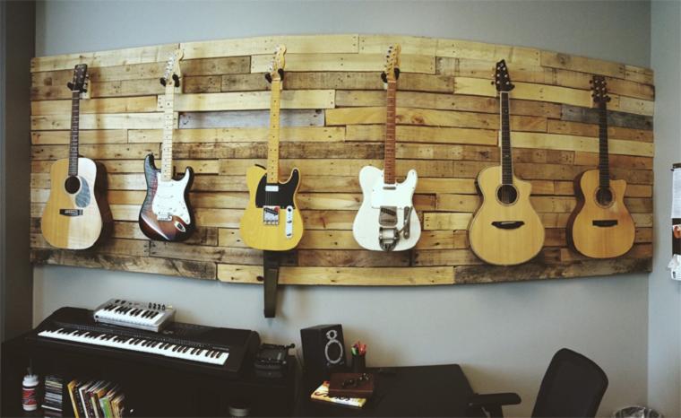 ideas con palets pared cubierta guitarras
