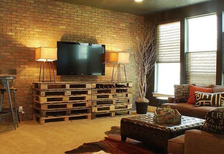 ideas con palets salon mueble ladrillos
