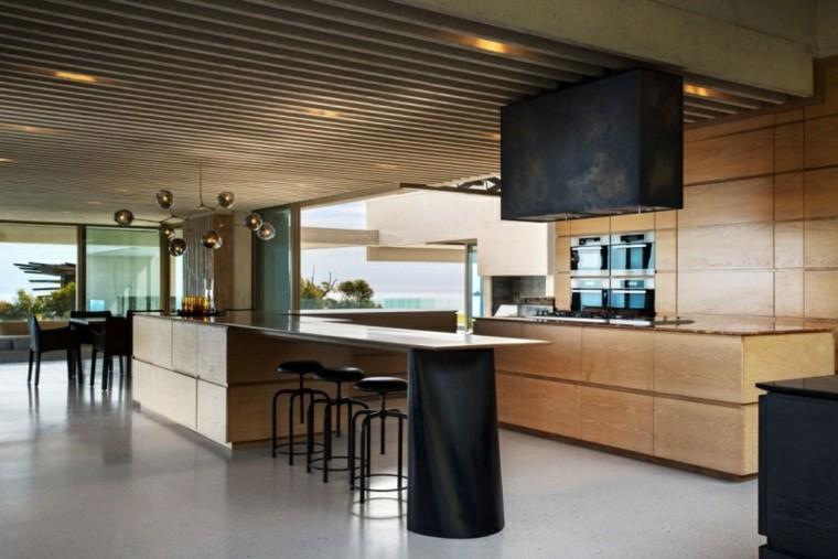 ideas decoración cocina isla abierta lamprara moderna