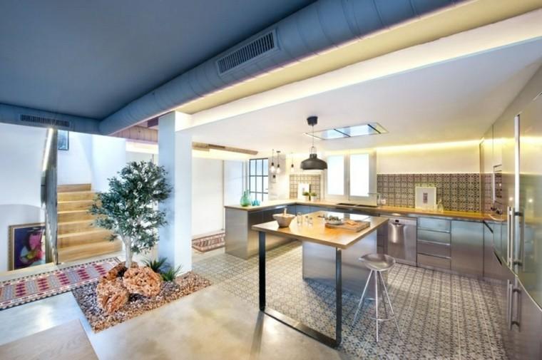 ideas decoración maceta grande arbol cocina moderno