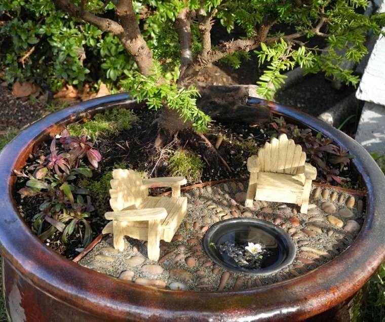 ideas originales jardines pequenos macetas muebles mini bonito