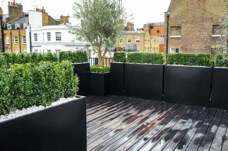 ideas para terrazas grava plantas jardineras