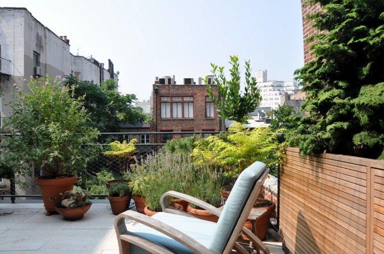 ideas para terrazas macetas plantas cojines