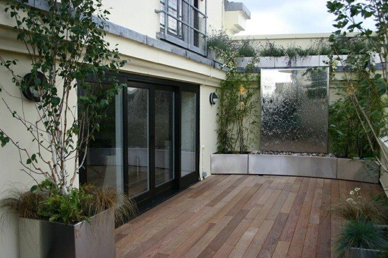 ideas para terrazas maceteros metal cascada