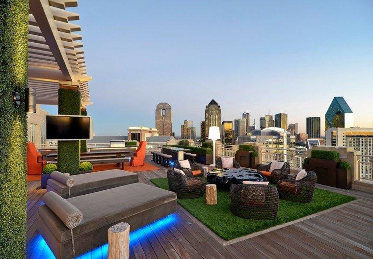 ideas para terrazas mesa led tumbonas
