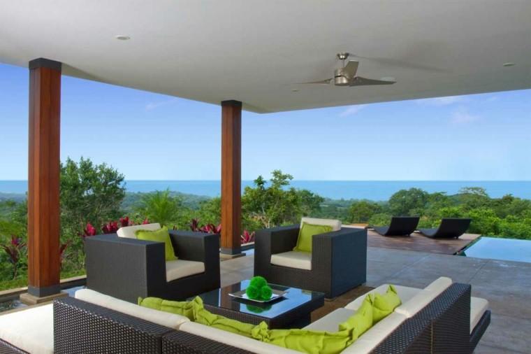 ideas para terrazas moderno columnas ratan