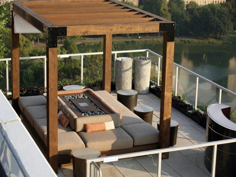 ideas para terrazas muebles acolchonados pergola
