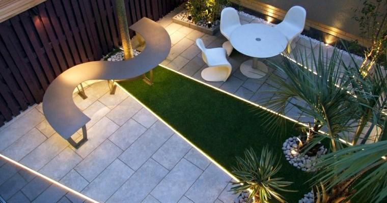 ideas para terrazas patio banca moderno