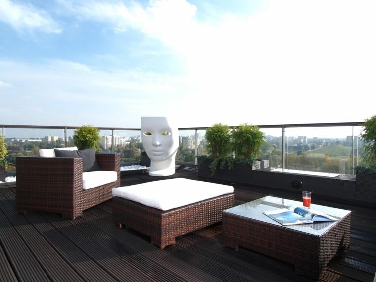 ideas para terrazas ratan mascara cojines