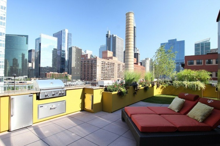 ideas para terrazas tumbonas cojines balcon