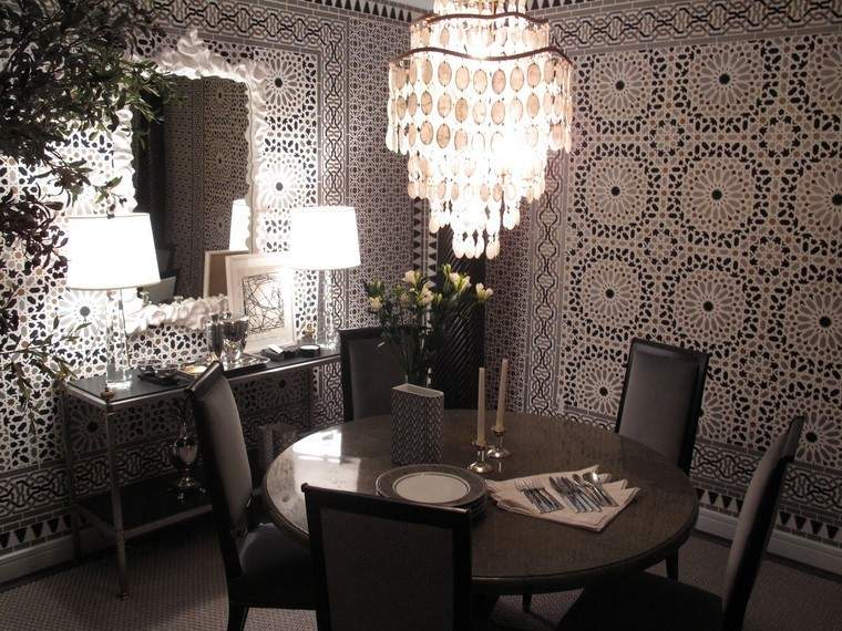 ideas pared papel comedores elegantes espejo lampara