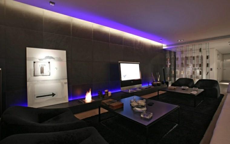 iluminacion LED cuadro arte moderno fuego moderna