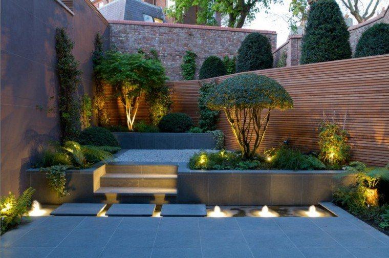 iluminacion exterior escalones muro jardin