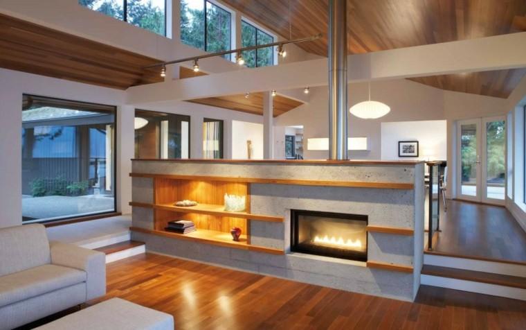 iluminacion indirecta led salon chimenea moderna