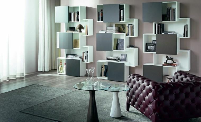 interior diseno salon estanterias blanco negro madera tres