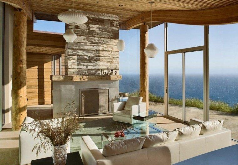Piedra y madera para los revestimientos de paredes for Revestimiento interior madera
