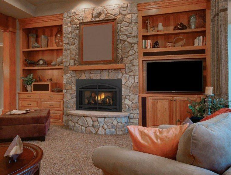 Piedra y madera para los revestimientos de paredes - Chimeneas con piedra ...