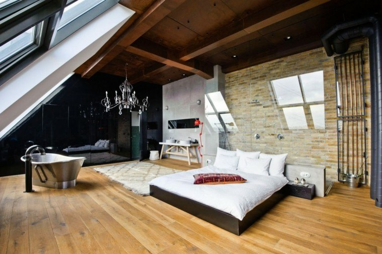 Piedra y madera para los revestimientos de paredes - Badkamer mansard ...