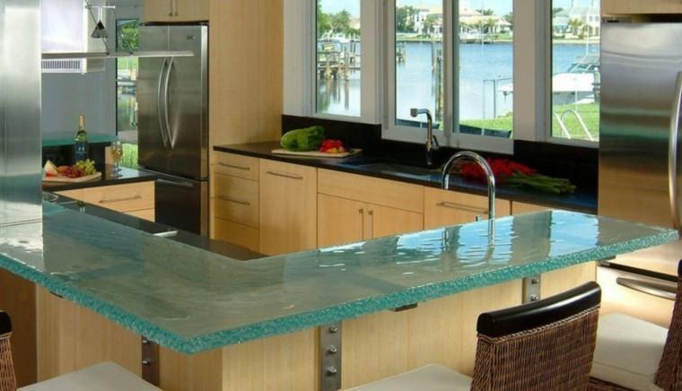 isla cocina encimera cristal vidrio