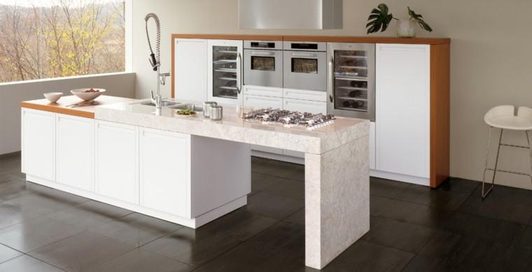 isla cocina marmol marcos madera
