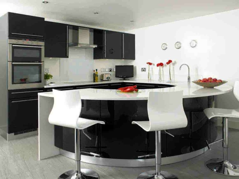 isla cocina redonda negra taburetes
