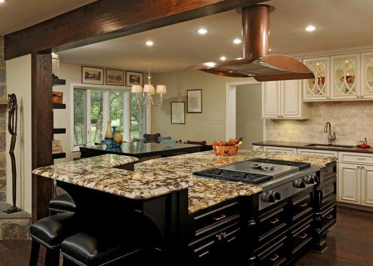 isla dos niveles cocina armarios negros marmol moderna