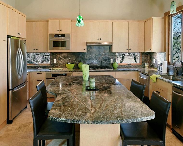isla encimera marmol armarios estilo contemporaneo cocina vintage ideas