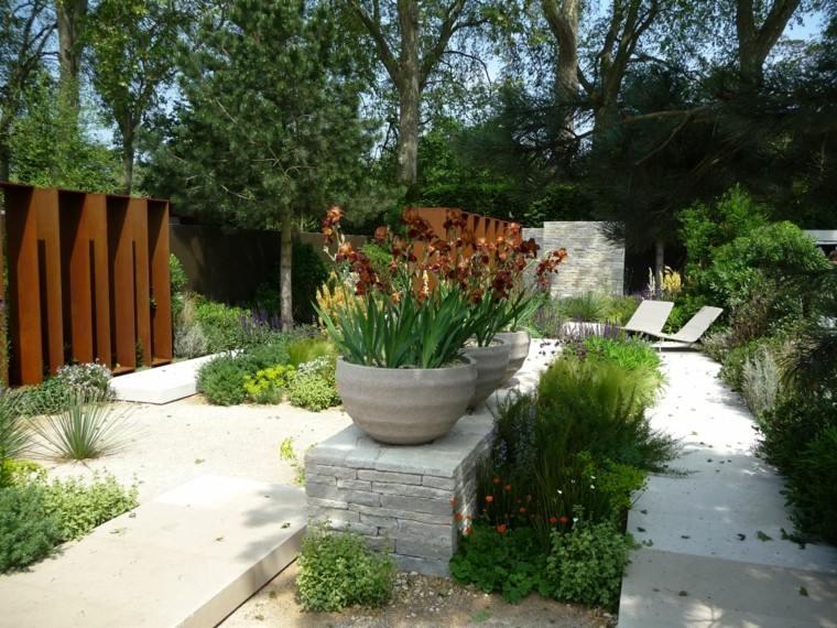 jardin acero muro rocas florestumbonas