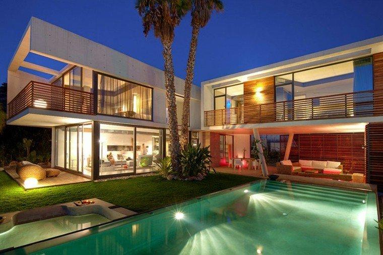 jardin amplio piscina palmera cesped iluminado ideas